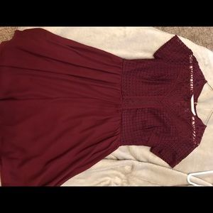 Maroon lace top dress. Never worn